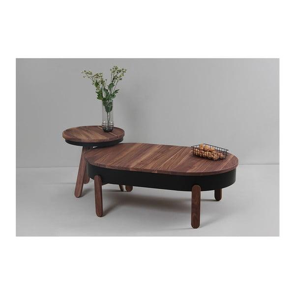 Hnědý konferenční stolek z dubového dřeva s černými detaily a úložným prostorem Woodendot Batea L