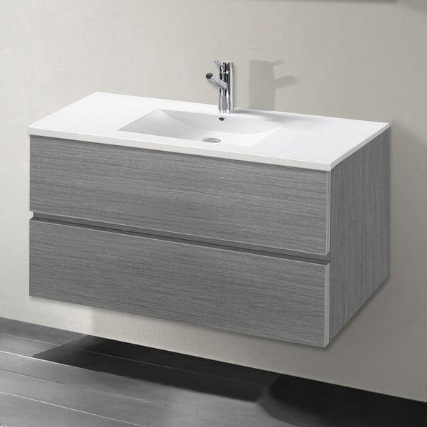 Koupelnová skříňka s umyvadlem a zrcadlem Flopy, odstín šedé, 80 cm
