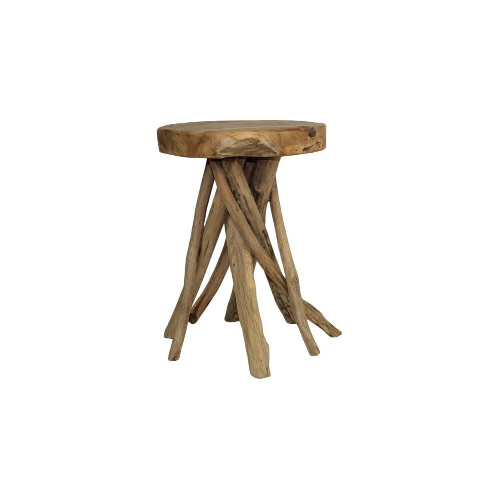 Stolička z teakového dřeva HSM collection Branch, ⌀ 33 cm