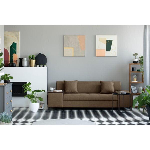 Světle hnědá trojmístná pohovka s nohami v černé barvě Cosmopolitan Design Orlando
