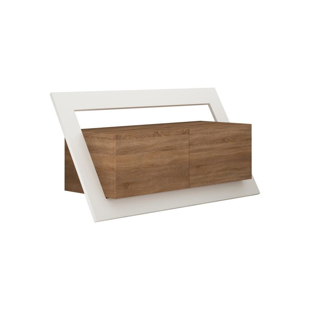 Hnědý TV stolek s bílým detailem Homitis Kayt