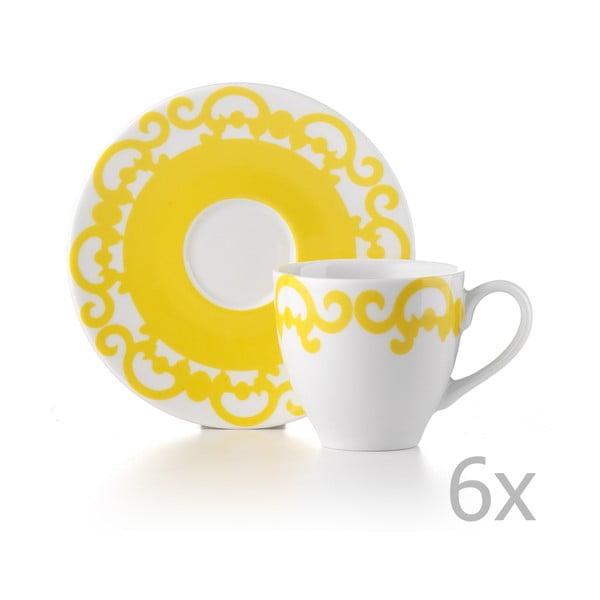 Sada 6 hrnků s talířky Arabesco Yellow