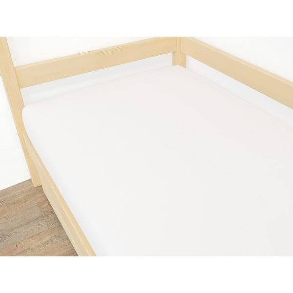 Białe prześcieradło z mikropluszu, 90x200 cm