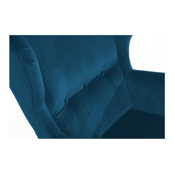 Petrolejově modré křeslo se světle hnědými nohami Max Winzer Clint Suede