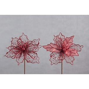 Set 2 decorațiuni din plastic în formă de floare pentru Crăciun DecoKing Vera, roșu