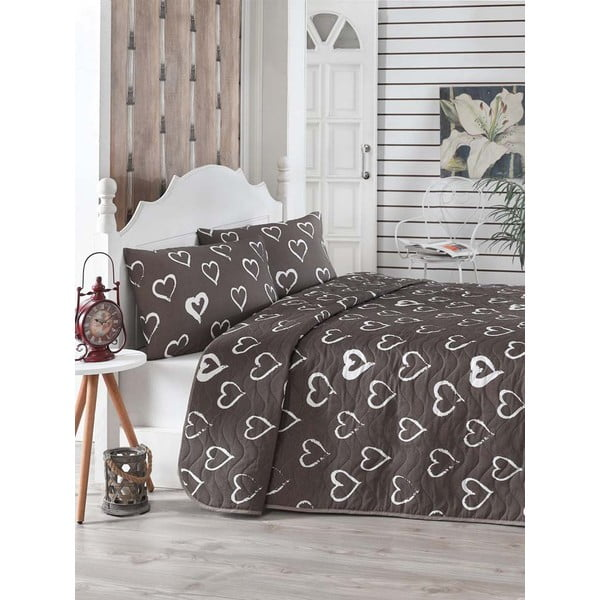 Brązowa pikowana narzuta z poszewkami na poduszki Amor, 200x220 cm