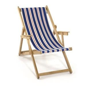 Skládací lehátko Beach, modré a oranžové proužky