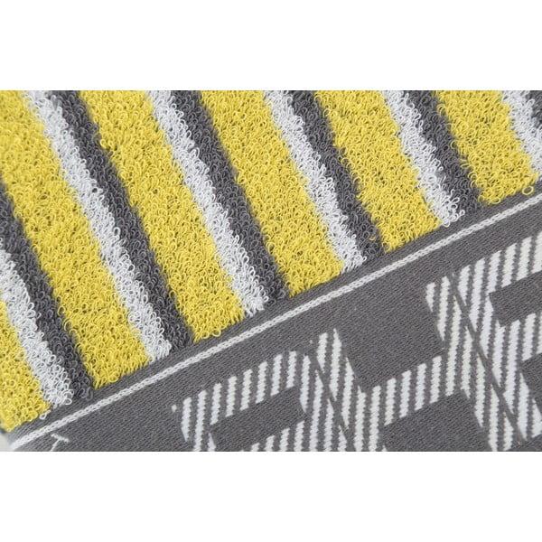 Šedo-žlutý bavlněný ručník BHPC, 50x100 cm