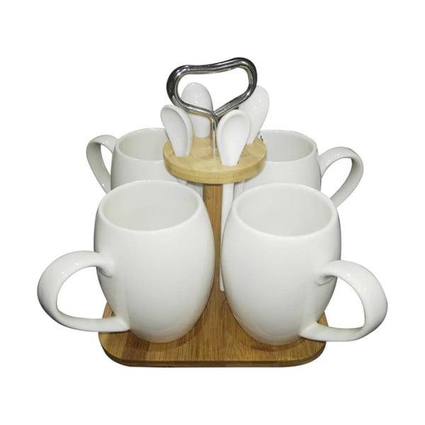 Set din porțelan și bambus pentru cafea Suedo