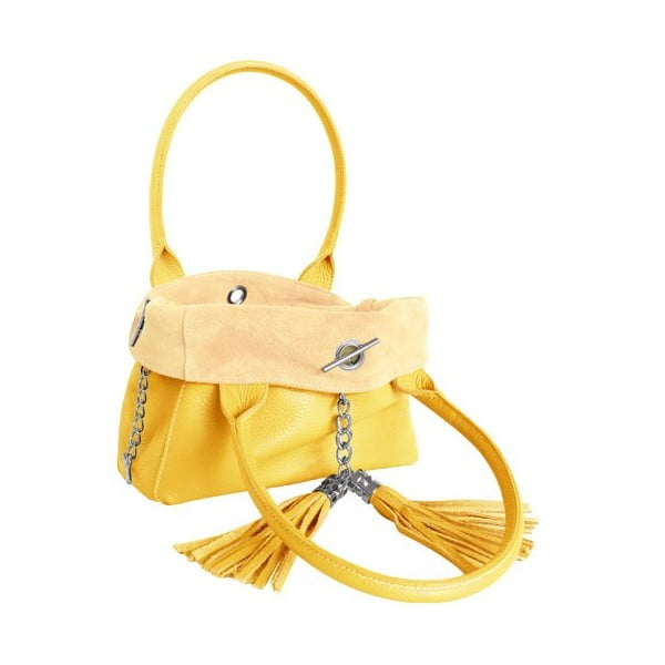 Oboustranná kožená kabelka Dolce Sonia Giallo/Burro