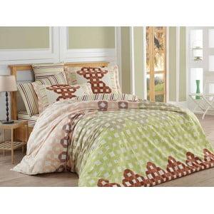 Lenjerie de pat cu cearșaf Marcella Brown, 200x220 cm