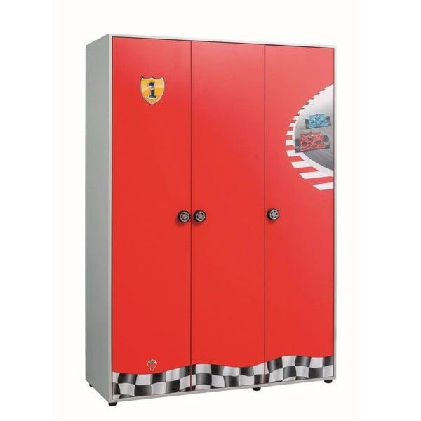 Červená šatní skříň Race Cup 3 Doors Wardrobe