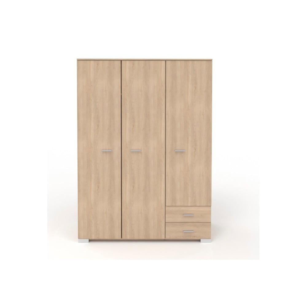 Třídveřová šatní skříň v dekoru dubového dřeva se 2 zásuvkami Parisot Alix