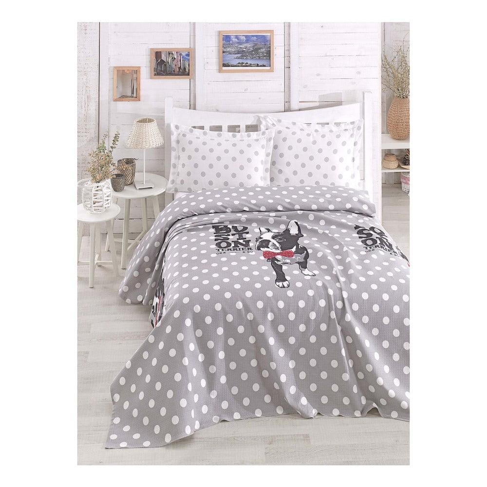 Lehký přehoz přes postel Boston Grey, 200 x 235 cm