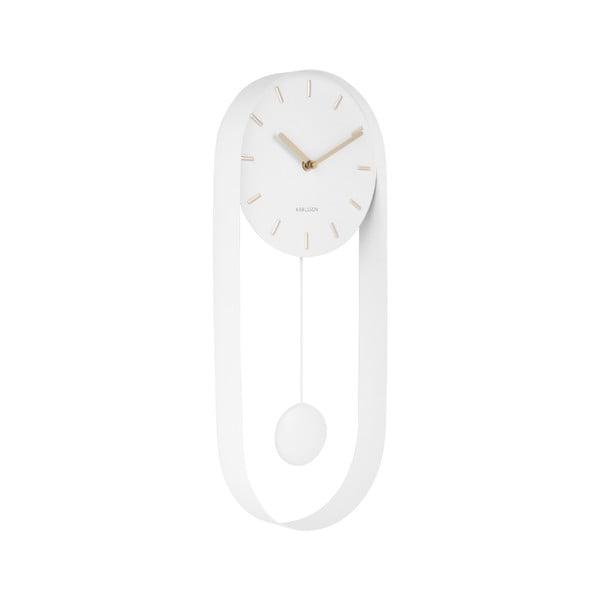 Biały wahadłowy zegar ścienny Karlsson Charm