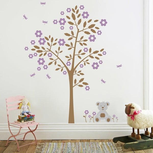 Samolepka na stěnu Strom a medvídek, fialová - 2 archy, 70x50 cm