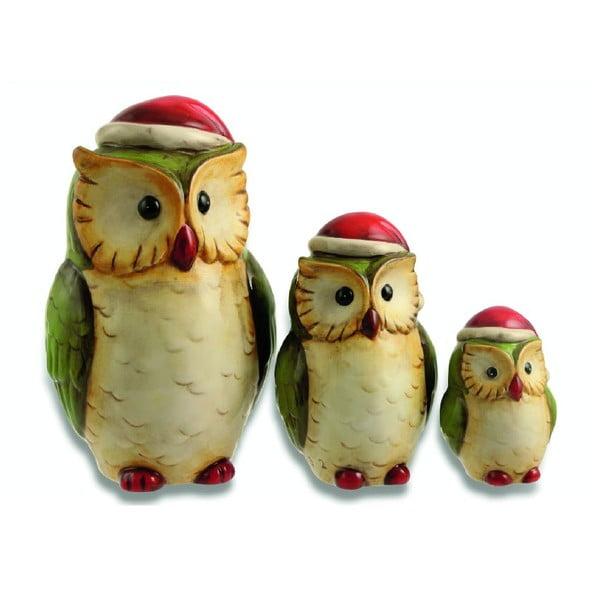 Set 3 dekorací Xmas Owl