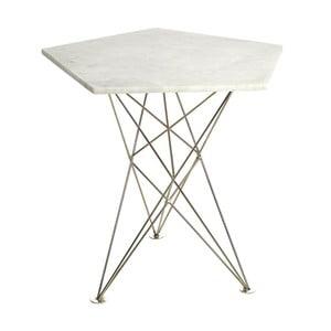 Příruční stolek s mramorovou deskou a bílým podnožím pols potten Pentagon