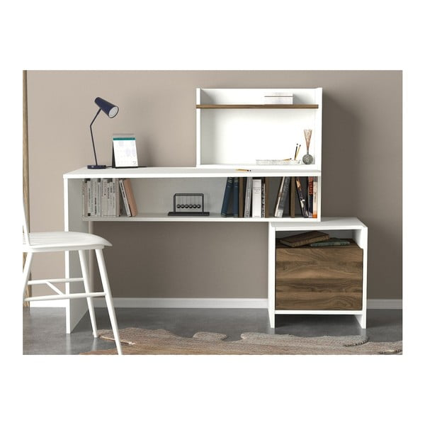 Birou și spațiu de depozitare și detalii cu aspect de lemn de nuc Vertigo