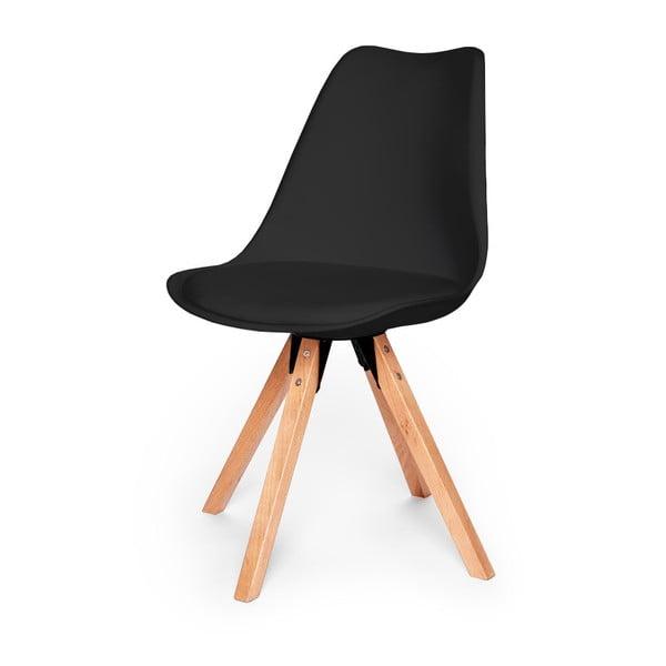 Sada 2 čiernych stoličiek s podnožím z bukového dreva loomi.design Eco