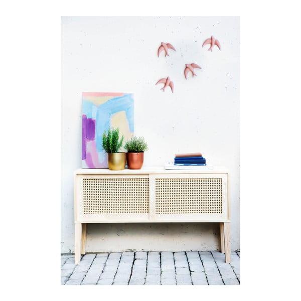 Sada 2 ručně vyrobených světle růžových nástěnných porcelánových dekorací Velvet Atelier Golondrinas