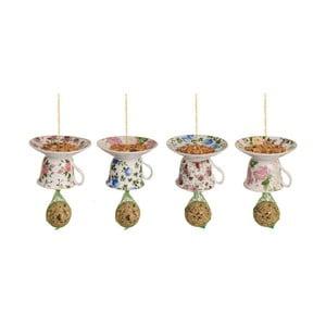 Sada 4 porcelánových závěsných krmítek s lojovou koulí Esschert Design Sweetie