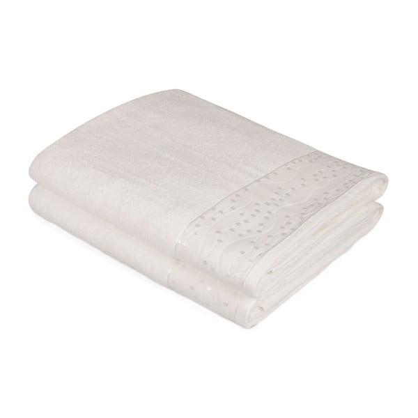 Komplet 2 białych bawełnianych ręczników Ressmo, 90x150 cm