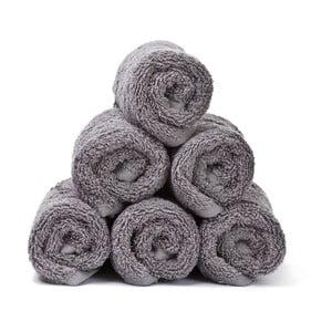Sada 6 šedých bavlněných ručníků Casa Di Bassi Guest, 30x50cm
