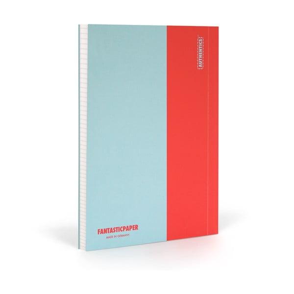 Zápisník FANTASTICPAPER XL Skyblue/Warm Red, čtverečkový
