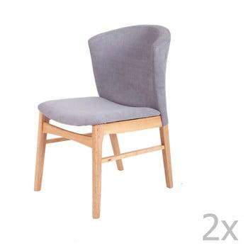Set 2 scaune cu picioarele maro deschis din lemn de cauciuc sømcasa Mara, gri de la sømcasa