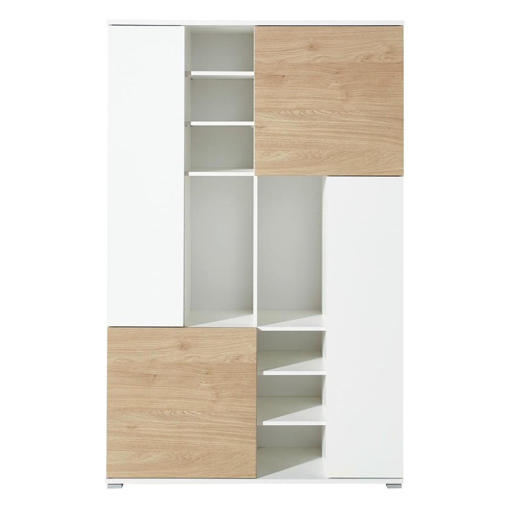 Bílý regál s detaily v dekoru dubového dřeva Germania Paseo2