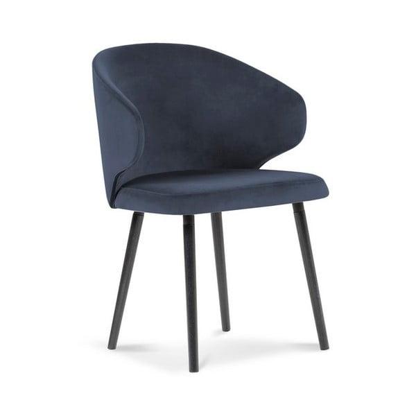 Ciemnoniebieskie krzesło z aksamitnym obiciem Windsor & Co Sofas Nemesis