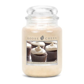 Lumânare parfumată în recipient de sticlă Goose Creek White Chocolate Butter Cream, 150 ore de ardere
