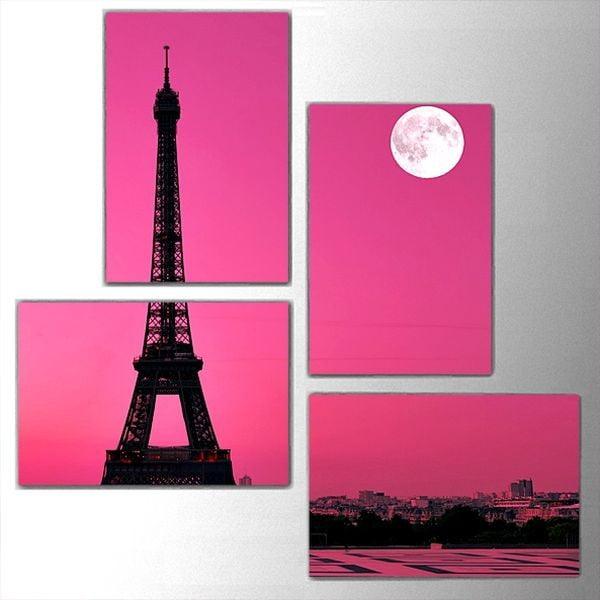4dílný obraz Pink Eiffel, 76x76 cm
