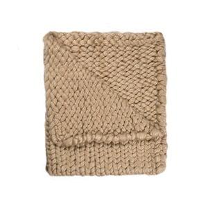 Pătură Chunky Plaids, maro, tricotată manual, 160 x 210 cm