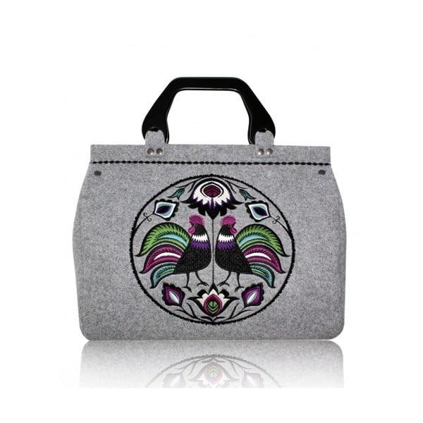 Plstěná vyšívaná kufříková kabelka do ruky Folk Kohoutí