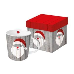 Hrnek z kostního porcelánu s vánočním motivem v dárkovém balení PPD Santa On Wood, 350 ml