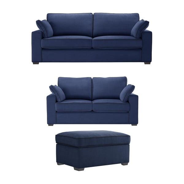 Trojdílná sedací souprava Jalouse Maison Serena, námořnicky modrá