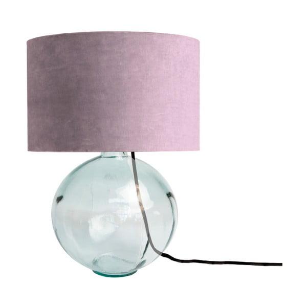 Fioletowa lampa z ręcznie dmuchanego szkła z aksamitnym kloszem Velvet Atelier