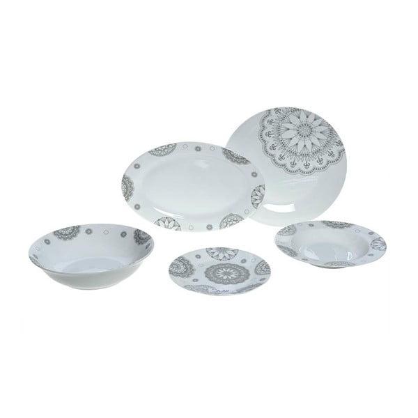 Set porcelánového nádobí Grey Decor, 25 ks