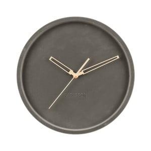 Tmavě šedé sametové nástěnné hodiny Karlsson Lush,ø30cm