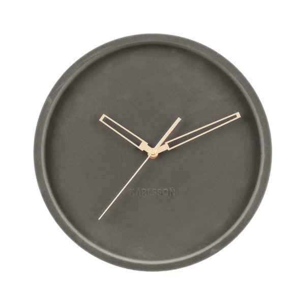 Ciemnoszary aksamitny zegar ścienny Karlsson Lush