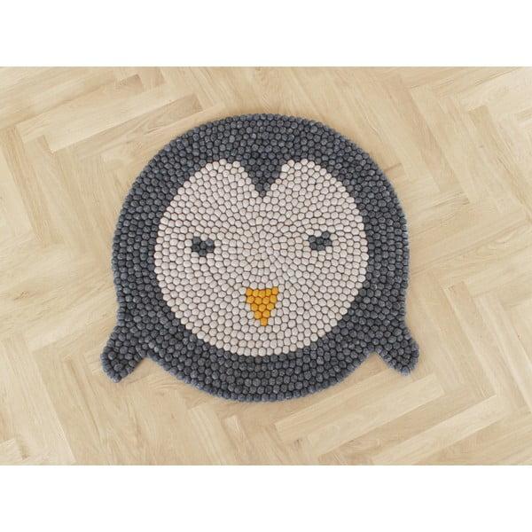 Dziecięcy wełniany dywan kulkowy Wooldot Ball Rugs Penguin, ⌀ 90 cm