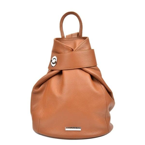 Koňakově hnědý dámský kožený batoh AnnaLuchini Luciana