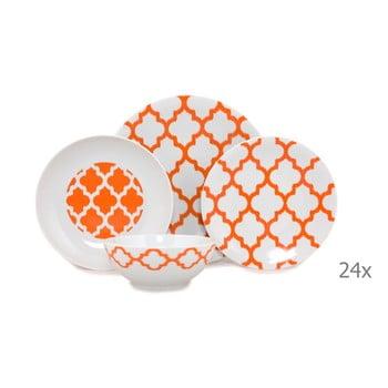 Set 24 vase din porțelan Kütahya Porselen Grida, alb - portocaliu imagine