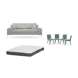 Set třímístné světle šedé pohovky, 4šedozelených židlí a matrace 160 x 200 cm Home Essentials