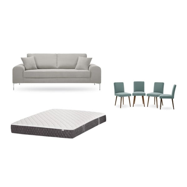 Set canapea gri cu 3 locuri, 4 scaune gri, o saltea 160 x 200 cm Home Essentials