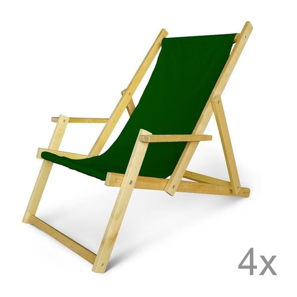 Sada 4 dřevěných nastavitelných lehátek s područkami JustRest, lahvově zelené