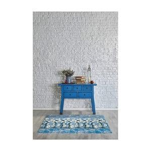 Modrý vysoce odolný koberec Webtappeti Camomilla, 58x80cm