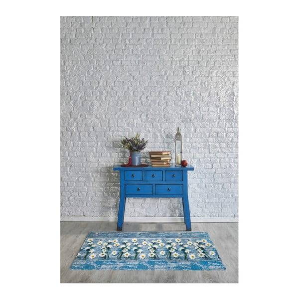 Covor foarte rezistent Floorita Camomilla, 58 x 115 cm, albastru